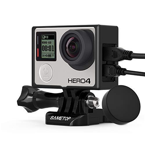Sametop Telaio Cornice Laterale con Copriobiettivo Compatibile con Gopro Hero 4, Hero 3+, Hero 3, Non è Utilizzabile con l'LCD e Batteria Estensione
