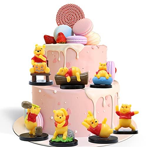 wopin 7 PCS Winnie The Pooh Cake Topper Decoration Winnie The Pooh Cake Topper Happy Birthday Cake Topper Kit Décoration Cupcake Torta Topper con per Bambino Festa di Compleanno Decorazione