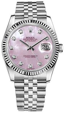 Rolex Datejust 36 116234 Mother of Pearl Pink Diamond Dial Luxury Watch