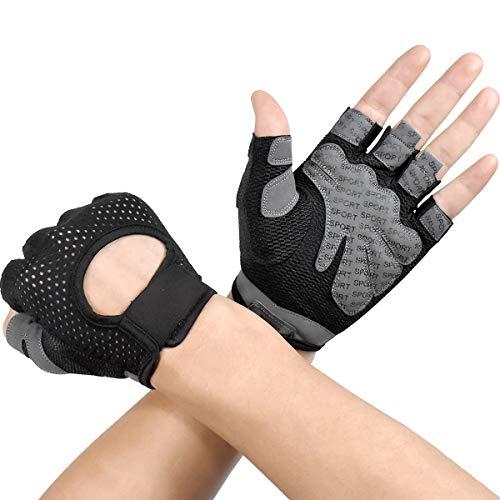 Dokpav Damen Herren Fitness Handschuhe Trainingshandschuhe mit Silikon Polsterung, Anti-Rutsch Fahrradhandschuhe, Gewichtheben Handschuhe, für Radsport, Krafttraining und Bodybuilding (Schwarz-M)