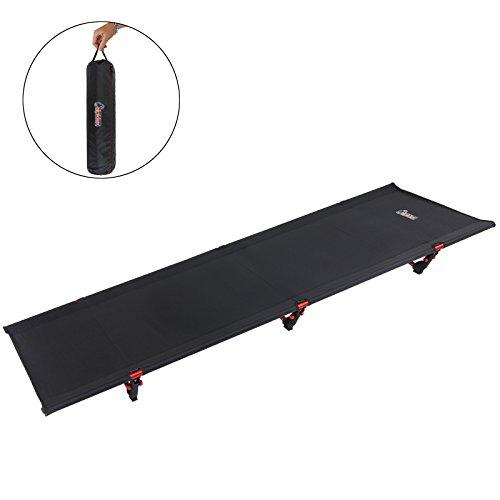 ALPIDEX Ultraleichtes Feldbett Campingbett belastbar bis 120 kg, lediglich 1.820 g inkl. Packsack, Bodenfreiheit 16 cm, minimales Packmaß