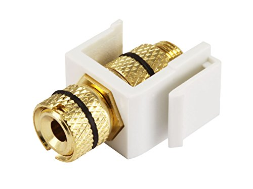 Monoprice 108434 Keystone Jack/Banana Jack with Black Ring - White - Screw Type, for Home Theater, Speaker Wire and More