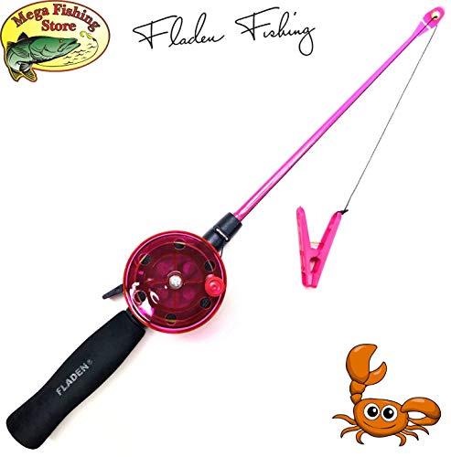Mega Fishing - Canna da pesca per bambini, 40 cm, colore: nero/verde/rosa, Pink