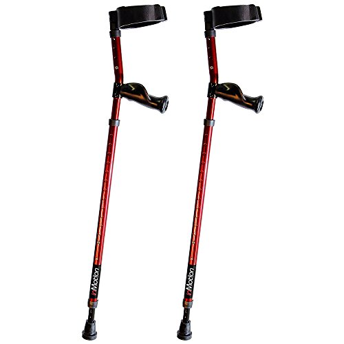 in-Motion Forearm Crutches | Spring Assist | Ergonomic Handles | Articulating Tips | Size Short (3'6' - 4'10') | Electric Red