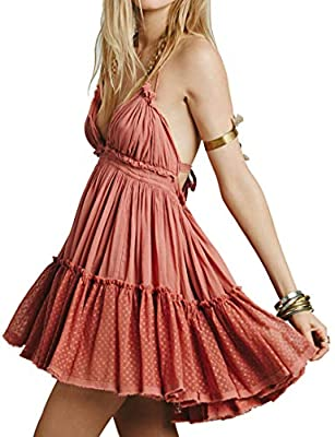 Material: 65% Cotton/Mesh/Spandex This Super Sweet Style Features a Backless Design and a Sheer Mesh Ruffle at the Hemline. Dress Features a Dee-V-Neck, Thin Halter Shoulder Straps. Ties Around Neck and Back and Adjustable Tie at Waist Suitable For B...