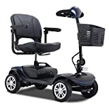 4 Wheel Metro Mobility Compact Mobility Scooters for Adults, Electric Powered Mobile Wheelchair Device for Seniors Elderly, Long Range Power Extended Battery with Charger and Basket Included