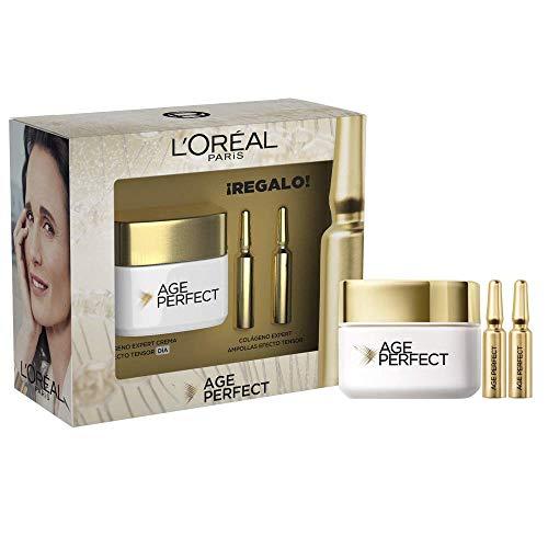 L'Oréal Paris Pack Age Perfect Incluye Crema de Día Efecto Tensor, 50 ml y de Regalo 2 Unidades de Ampollas Colágeno, Pieles Maduras y Apagadas