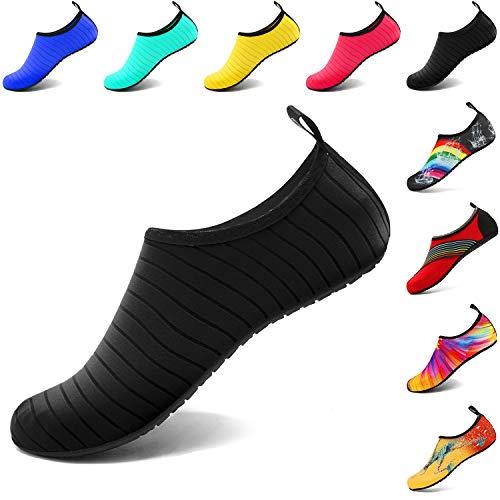 VIFUUR Water Sports Shoes Barefoot Quick-Dry Aqua Yoga Socks Slip-on for Men Women Kids Black-40/41