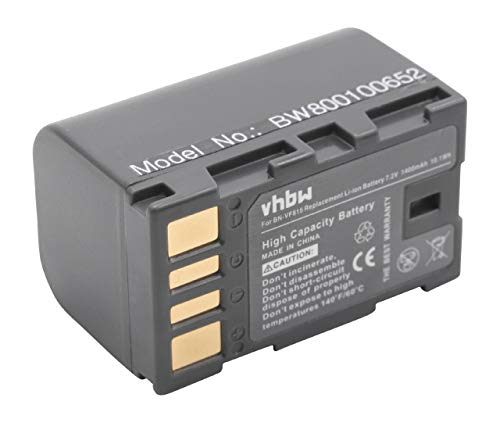 vhbw Li-Ion batteria 1400mAh (7.2V) con infochip per telecamera videocamera camcorder JVC GS-TD1EU sostituisce BN-VF815, BN-VF815U.