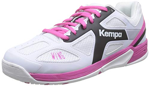 Kempa Unisex-Kinder 200849505 Wing Junior mit Velcro Handballschuhe, Weiß (White/Black/Pink), 32 EU