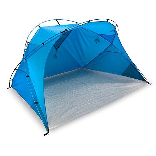 outdoorer große Strandmuschel Santorin Alu Air - XXL Strandzelt mit UV 80 Sonnenschutz, Windschutz am Strand, kleines Packmaß für Reisen, leichtes Sonnenzelt mit Alugestänge