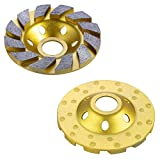 OCR 4' Concrete Turbo Diamond Grinding Cup Wheel Three Row Turbo Cup Disc Grinder for Angle Grinder 12 Segs Heavy Duty (Yellow 12segs B)
