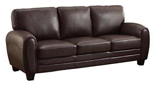 Homelegance Rubin 85' Bonded Leather Sofa, Dark Brown