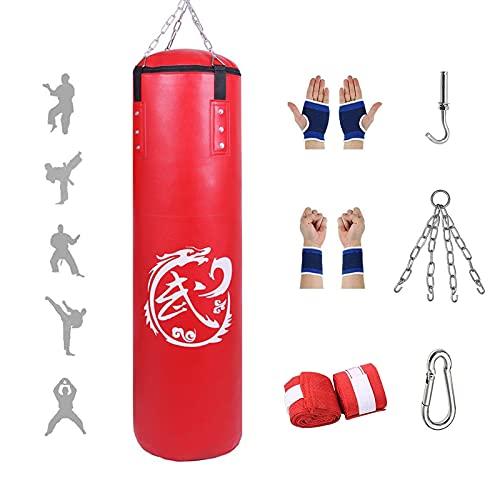 Sac de Boxe Frappe Adulte - Cuir PU de Haute Qualité, Lourd Equipement d'Entraînement MMA Muay Thai Kickboxing, pour Entraînement de Fitness (sans Sables Rempli)