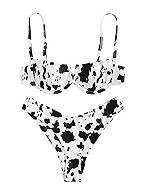 82% Polyester, 18% Spandex, fabric is very stretchy Features: Cow print, adjustable spaghetti strap, v-wired, underwire bathing suits, push up padding bra, high leg bikini set Occasion: Perfect for vacations, summer, beach & pool with unique and chic...