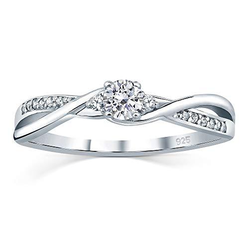 SILVEGO Verlobungsring mit Swarovski® Zirconia 925 Sterling Silber (46 (14.6))