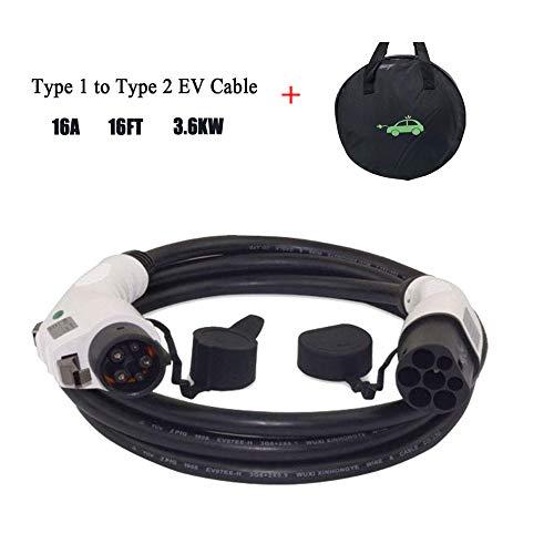 Cable de carga K.H.O.N.S. EV - Tipo 1 a Tipo 2 - 16A - (IEC 62196-2 a SAE J1772) 5 Metros