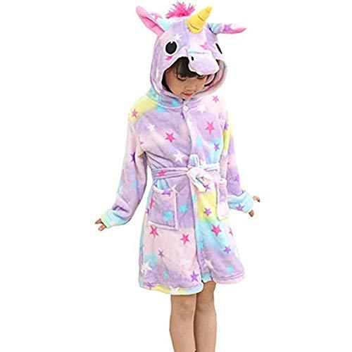 Mallalah Albornoz Unicornio Adecuada para Niñas, Niños, Franela, Pijamas, Pijamas de Dibujos Animados, Sudaderas. (Estrella, 100)