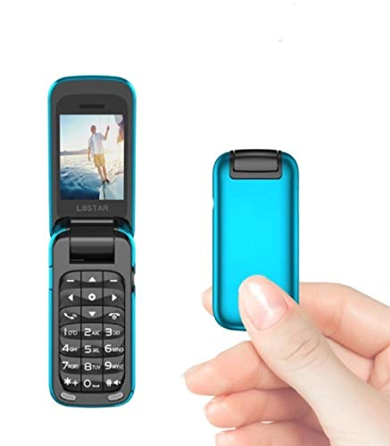 L8star Small Mini Flip Cell Phone MP3 Magic Voice Changer Bluetooth Dialer Music Cellphone BM60 (Blue)