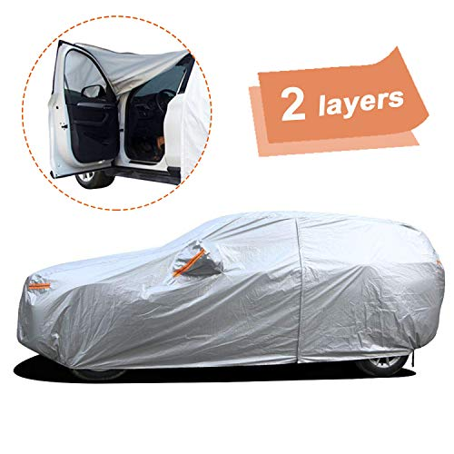 SEAZEN Car Cover with Zipper,2 Layer Full Car Covers Waterproof All Weather,UV Protection Snowproof Dustproof,Universal Car Cover (Fit SUV Jeep-Length Up to 190)