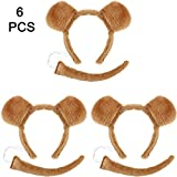 WILLBOND 6 Pieces Bear Ears Headband Bear Bowtie and Bear Tail Costume Set for Halloween or Costume Party Decoration (Hairband with Tail)