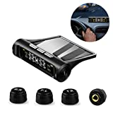 VSTM Tire Pressure Monitoring System TPMS, Solar Power Universal Wireless Car Alarm System with 4 External Sensors,6 Alarm Modes,LCD Real-time Display Pressure & Temperature Alerts Ensure Safe Driving