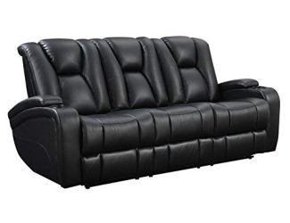 Delange Reclining Power Sofa with Adjustable Headrests and Storage in Armrests Black