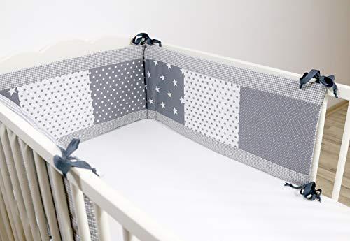 ULLENBOOM ® Nestchen Graue Sterne (210x30 cm Baby Bettnestchen, Bettumrandung für 140x70 cm Babybett - Kopfbereich, Motiv: Punkte, Sterne)