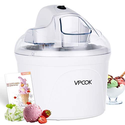 VPCOK Macchina del gelato 1,5L Gelatiera Autorefrigerante Macchina Gelato Yogurt Macchina del Gelato...