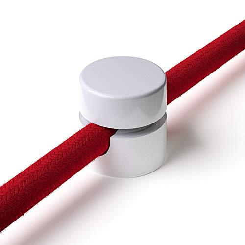 3x Stück - Zweiteilige Affenschaukel für Textilkabel, Aufputz-Kabelhalter für Lampe, Weiß
