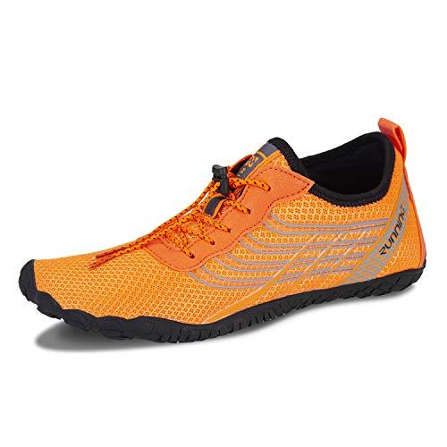 IceUnicorn Barfussschuhe Traillaufschuhe Damen Herren Fitnessschuhe Aquaschuhe Laufschuhe Zehenschuhe Wassersportschuhe(F Orange, 41EU)