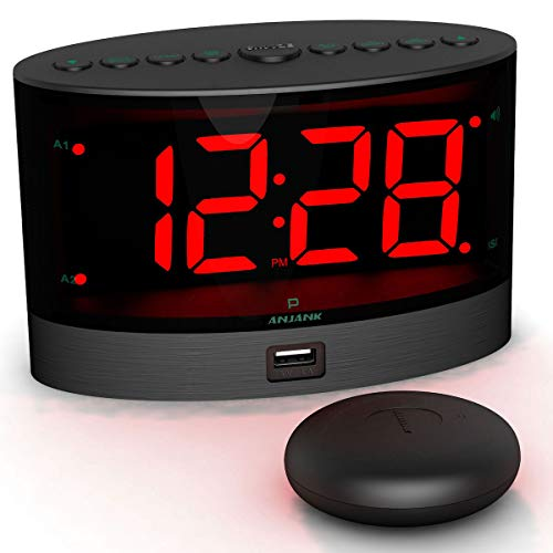 ANJANK Extra Loud Alarm Clock with Wireless Bed Shaker, Vibrating Dual Alarm Clock for Heavy Sleepers, Deaf and Hearing-impaired, Adjustable Volume/Dimmer/Wake-up mode, USB Charger Port, Pillow Shaker