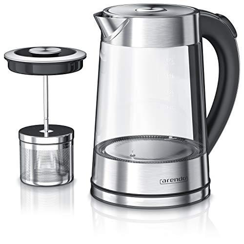 Arendo - Glas Wasserkocher mit Temperatureinstellung und Teesieb Teekocher - Einstellbare Temperaturen 40, 70, 80,100 Grad - 1,7 Liter - Abschaltautomatik - Warmhaltefunktion