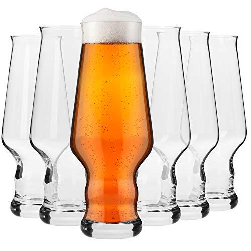 Krosno Bicchieri Birra Artigianale Vetro   Set di 6   400 ML   Collezione Splendor   Perfetto per casa, ristoranti e Feste   Adatto alla Lavastoviglie e al Forno a Microonde