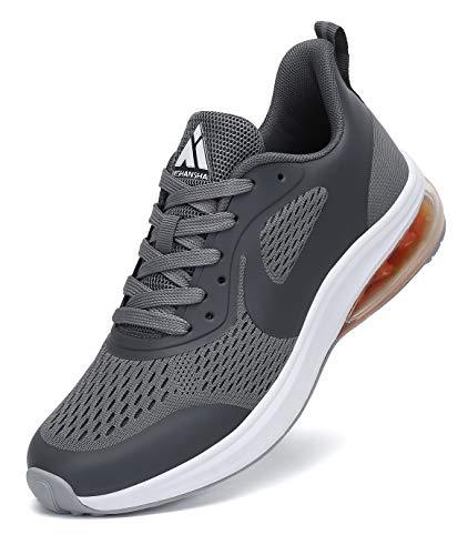Mishansha Hombre Zapatos de Fitness Casual Sneakers Mujer Ligero Aire Libre y Deportes Calzado Gris 43