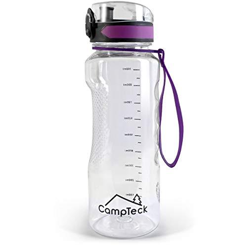 CampTeck U6971 - Borraccia Palestra 1 litro 1000 ml Bottiglia Acqua BPA Free Tritan - Coperchio Flip Lock a Prova di Perdite - con Cinghia di Trasporto. - Viola - 1000 ml (1 litro)