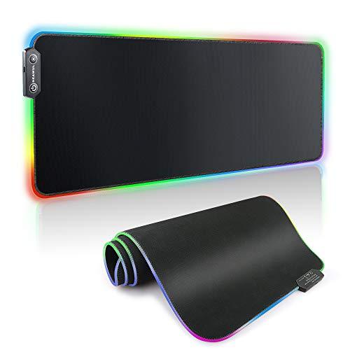 REAWUL RGB Gaming Mauspad - 800x300x4mm Großes Computer Pad XXL 14 LED Beleuchtungsmodi Gaming Mausmatte, rutschfeste Gummibasis und Wasserdichtes Tastatur Mauspad