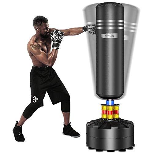 Dripex Saco de Boxeo de Pie para Adultos, Compañero de Boxeo de MMA, Entrenador de Boxeo, Resistente, con Base de Succión, Rellenable de Arena 80kg /Agua 60kg Aprox… (Negro)