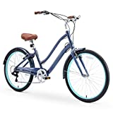sixthreezero EVRYjourney Women's Casual Edition 7-Speed Cruising Hybrid Bike w/Integrated Cable Lock, 26' Bicycle, Navy with Brown Seat and Brown Grips