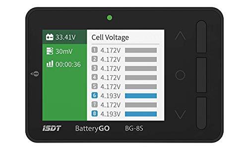 ISDT BattGo BG-8S Battery Meter, LCD Display Digital Battery Capacity Checker Battery Balancer Battery Tester for LiPo/Life/Li-ion/NiMH/Nicd