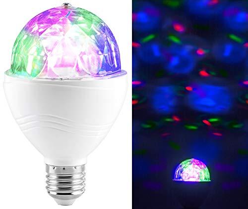 Lunartec Disco Lampe: Rotierende Disco-Leuchte mit RGB-Farbeffekten, 3 W, E27 (Party Lampe)