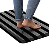 Kangaroo 3/4 Inch Thick Superior Cushion, Stain Resistant Kitchen Rug and Anti Fatigue Cushioned Foam Comfort Floor Padding, Stand Up Desk, Washable Standing Decor Mat, 17x24, Stripe Black Gray