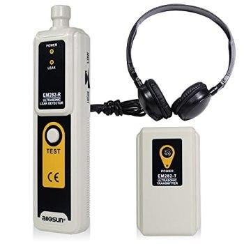 allsun Détecteur et émetteur de fuites à ultrasons Air Eau Poussière Pression de fuite Kit d'accessoires pour casque Indication LED