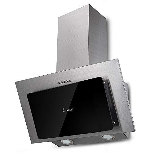 KKT KOLBE Cappa aspirante da cucina / 60 cm/acciaio inox/vetro nero/illuminazione a LED / 3 livelli/pulsanti / BASE604ED