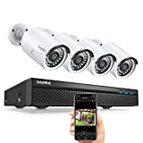 Expandable 5MP 8CH True POE Security Camera System with 4x2MP Surveillance Indoor Outdoor Cameras,Built-in Microphone,100FT Night Vision for 7/24 Recording,Plug n Play,H.264+ to Save Storage,NO HDD