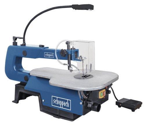 Scheppach Dekupiersäge Deco-XL mit Fußschalter (125 Watt, Schnitthöhe 50mm, Schnitttiefe 406mm, Absaugstutzen- Ø 35mm, 45° neigbarer Tisch)