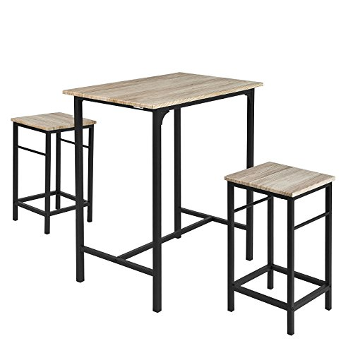 SoBuy Set 3 pezzi Tavolo con 2 sgabelli, Set di mobili da balcone,OGT10-N,IT