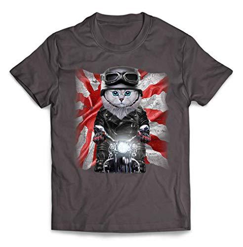 Fox Republic【ペルシャ猫 ねこ バイク 日本 日の丸】 メンズ 半袖 Tシャツ チャコール L