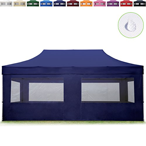TOOLPORT Faltpavillon Faltzelt 3x6m - 4 Seitenteile ALU Pavillon (TÜV Rheinland geprüft) Partyzelt blau Dach 100{8e9f14d60e51ca91978d205dc5ca12b6b53faa78eb1bed0fed0934cb6cb0b853} WASSERDICHT (GS geprüft)
