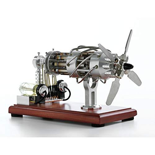 ColiCor stirlingmotor bausatz 16 Zylinder Taumelscheibe Heißluft Stirling Engine Physik Spielzeug Geschenk für Teenager, Erwachsene